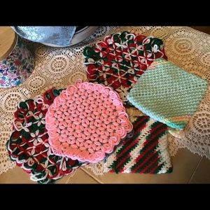 Vintage Handmade Crocheted Hot Pads Kitchen Retro